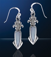 Sterling Silver Squid Earrings DE 4132
