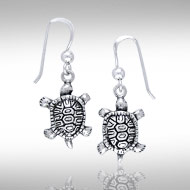 3 Dimensional Sterling Silver Terrapin Earrings DE 8279
