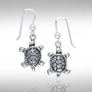 3 Dimensional Sterling Silver Terrapin Earrings DE 8279