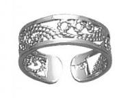 Sterling Silver Filigree Wave Toe Ring TR 602