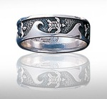 Sterling Silver Wave Band Ring with Sea Turtles DTR 800