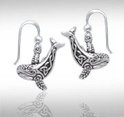 Sterling Silver Whale Earrings DE 403
