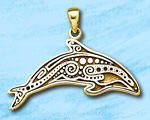 Tribal Dolphin Sterling Silver Pendant DP 7413 in gold