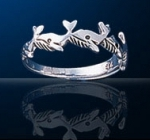 sterling silver whale ring DFR 110