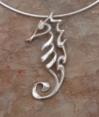 artistic sterling silver seahorse necklace