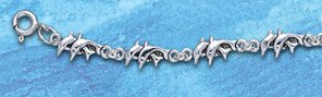 double dolphin sterling silver anklet DA 325