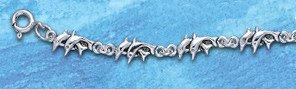 Sterling Silver Double Dolphin Bracelet DB 325