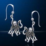 Sterling Silver Octopus Earrings DE 8233