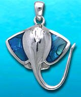 Sterling Silver Stingray Pendant DP 500 with Paua Shell