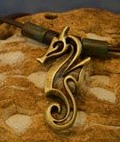 brass artistic seahorse necklace