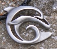 pewter artistic dolphin necklace