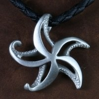 pewter artistic starfish necklace