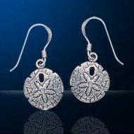 Sterling Silver Sand Dollar Dangle Earrings DE 323