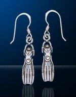 Sterling Silver Scuba Dive Fin Earrings