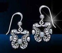 Sterling Silver Kissing Seahorse Earrings