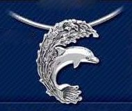 Surfing Dolphin Sterling Silver Pendant DP 502