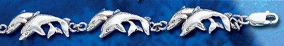 Sterling Silver Double Dolphin Bracelet DB 243