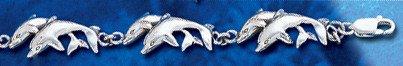 Sterling Silver Double Dolphin Bracelet DB 243
