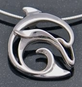 artistic sterling silver dolphin pendant