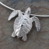 sterling silver Green Sea Turtle pendant