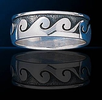 sterling silver ocean wave ring