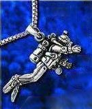 sterling silver scuba diver necklace